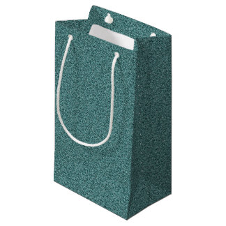 Teal Blue Green Faux Glitter Small Gift Bag