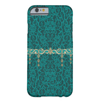 Teal Blue Green Lace With Jewelry Barely There iPhone 6 Case