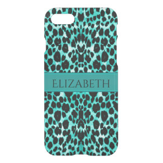 Teal Blue Green Leopard Animal Print iPhone 7 Case