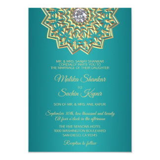 Teal Blue Green Mandala Gold Indian Wedding Card