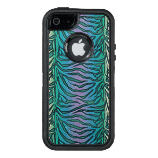 Teal Blue Green Purple Zebra Print iPhone Case