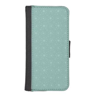 Teal Blue Green Snowflake Pattern Phone Wallet Case
