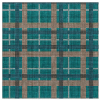Teal Blue Green Taupe Brown Tartan Squares Pattern Fabric