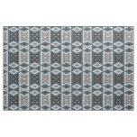 Teal Blue Grey Black Eclectic Ethnic Look Fabric