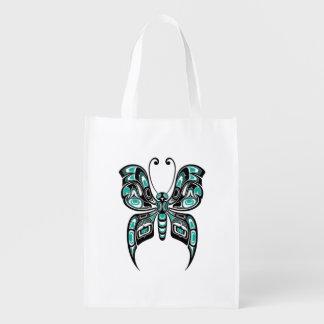Teal Blue Haida Spirit Butterfly Reusable Grocery Bag
