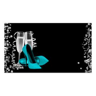Teal Blue High Heel Shoe Business Cards