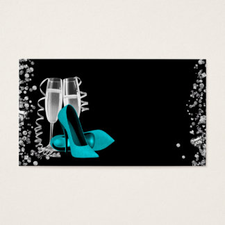 Teal Blue High Heel Shoe Business Cards