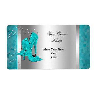 Teal Blue High Heel Shoes Silver Event Labels