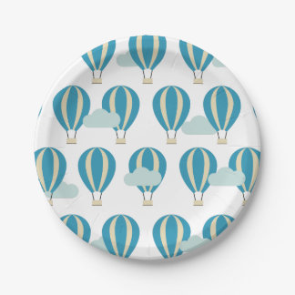Teal Blue Hot Air Balloons Paper Plate