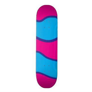 Teal Blue Hot Pink Color Waves Pattern 18.1 Cm Old School Skateboard Deck