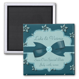 Teal Blue Island Flowers & Rhinestones Wedding Square Magnet