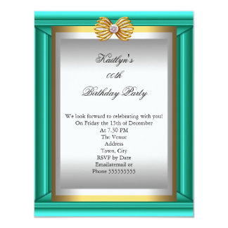 "Teal Blue Jade Gold Silver Womans Birthday Party 4.25"" X 5.5"" Invitation Card"