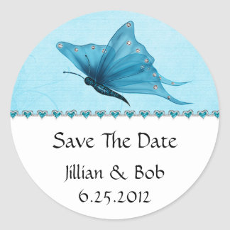 Teal Blue Jewel Hearts Teal Blue Butterfly Save Th Round Sticker