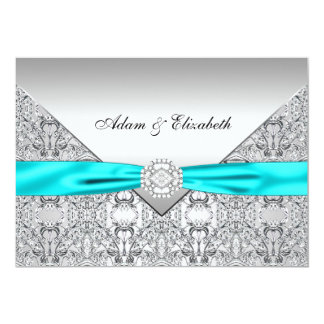 Teal Blue Lace Diamond Ribbon Wedding 5x7 Card