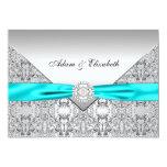 Teal Blue Lace Diamond Ribbon Wedding 5x7 13 Cm X 18 Cm Invitation Card
