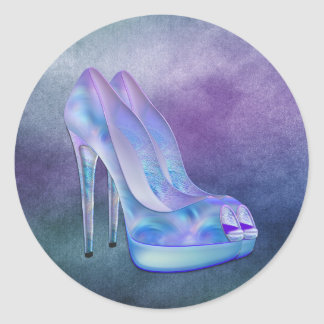 Teal Blue Lavender Purple High Heel Shoes Stickers