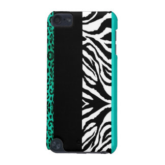 Teal Blue Leopard and Zebra Custom Animal Print iPod Touch 5G Covers
