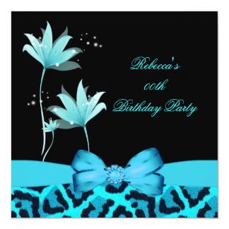 "Teal Blue Leopard Flower Birthday Party 5.25"" Square Invitation Card"