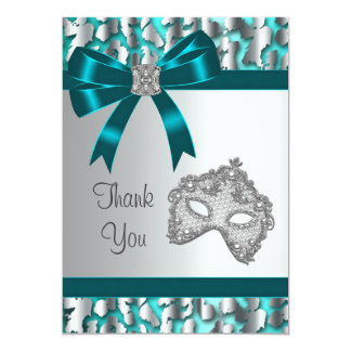 Teal Blue Leopard Masquerade Party Thank You Card 13 Cm X 18 Cm Invitation Card