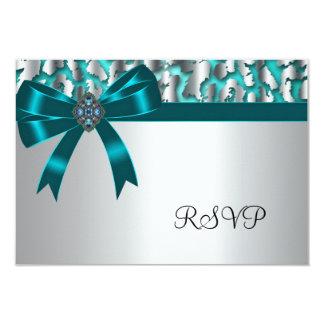 "Teal Blue Leopard RSVP Cards 3.5"" X 5"" Invitation Card"