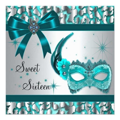 Teal Blue Leopard Sweet Sixteen Masquerade Party Custom Announcements