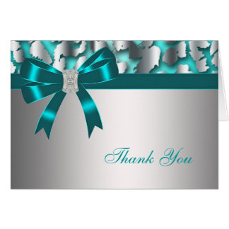 Teal Blue Leopard Thank You Card