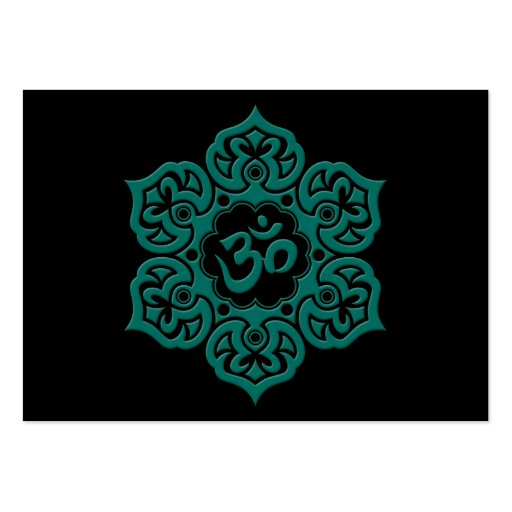 Collections of lotus flower business cards page3 teal blue lotus flower om on black business card templates colourmoves