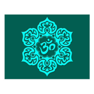 Teal Blue Lotus Flower Om Postcard