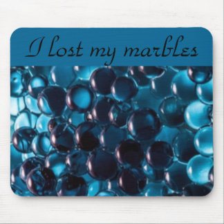 Teal Blue Marbles Typography Mouse Pad