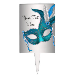 Teal Blue Mask Masquerade Party Cake Topper