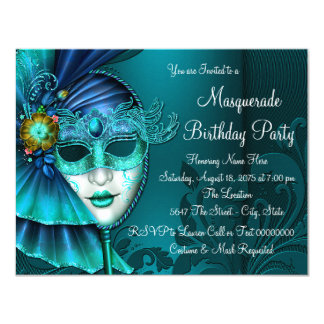 Teal Blue Mask Masquerade Party 4.25x5.5 Paper Invitation Card