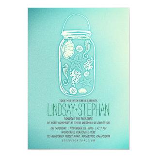teal blue mason jar beach wedding invitations custom invites