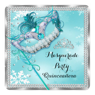 Teal Blue Masquerade Mask Quinceanera Party 2 13 Cm X 13 Cm Square Invitation Card