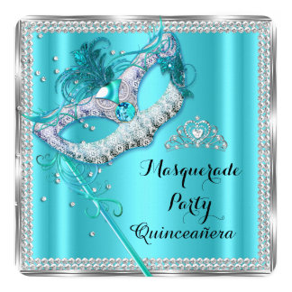 Teal Blue Masquerade Mask Quinceanera Party 13 Cm X 13 Cm Square Invitation Card