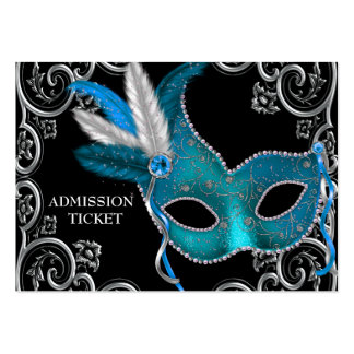 Teal Blue Masquerade Party Admission Tickets Pack Of Chubby Business Cards