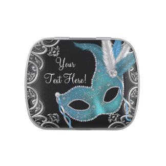 Teal Blue Masquerade Party Candy Tin