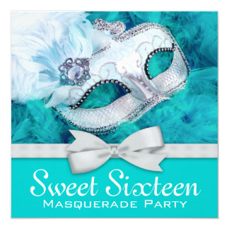 Teal Blue Masquerade Party Card