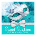 Teal Blue Masquerade Party Custom Invite