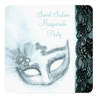 Teal Blue Masquerade Party Personalized Invitation Card