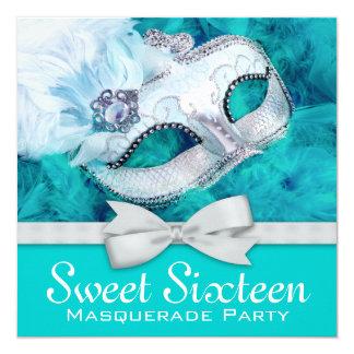 Teal Blue Masquerade Party 13 Cm X 13 Cm Square Invitation Card