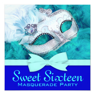 Teal Blue Masquerade Party Invitations