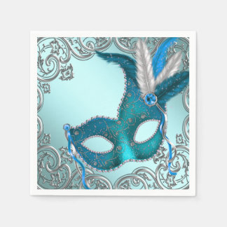 Teal Blue Masquerade Party Paper Napkin