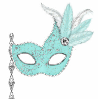 Teal Blue Masquerade Party Table Decorations Standing Photo Sculpture