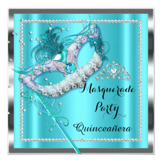 Teal Blue Masquerade Quinceanera Party Mask 2 5.25x5.25 Square Paper Invitation Card