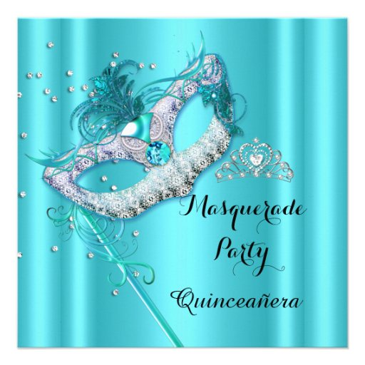 Teal Blue Masquerade Quinceanera Party Mask 3 Custom Announcement