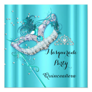 Teal Blue Masquerade Quinceanera Party Mask 3 5.25x5.25 Square Paper Invitation Card