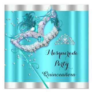 Teal Blue Masquerade Quinceanera Party Mask 4 5.25x5.25 Square Paper Invitation Card