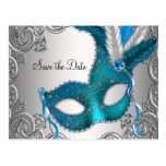 Teal Blue Masquerade Save The Date