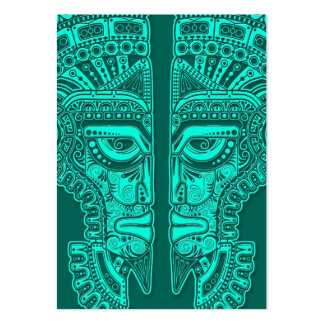 Teal Blue Mayan Twins Mask Illusion Business Cards