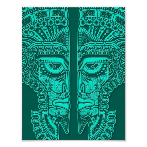 Teal Blue Mayan Twins Mask Illusion Poster